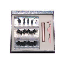 F177H Hitomi Long Thick Mink Eyelashes soft natural mink eyelashes Fluffy 25mm Magnetic Eyelashes with Eyeliner and tweezers