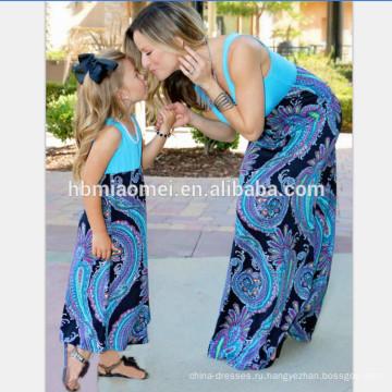 2017 лета цветок печатных хлопка красотки мама и дочь платье мама и я Макси с круглым вырезом женщины платья