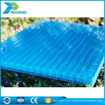 Materil del makrolon del precio de fábrica cuatro policarbonato de la pared tinte azul hoja de material plástico del nido de abeja