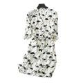 Women's silk dress above knee printing swan/crane pattern decor V-neck with belt half sleeves dresses
