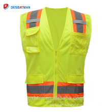 Yellow Orange Hi Vis Working Reflective Safety Vests ANSI Class 2 High Visibility Warning Waistcoat Workwear with Pockets