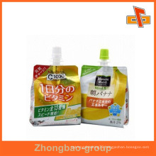 Eco friendly stand up laminated jelly package with spout for juice 100ml 250ml