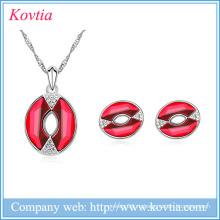 2016 комплект ювелирных изделий красный ротик очарование ожерелье и серьги набор оптовых ювелирных изделий Гуанчжоу