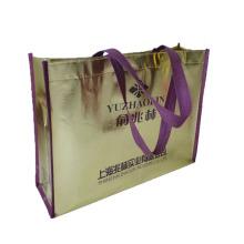 Eco-friendly customized golden metallic foil laminated nonwoven bag
