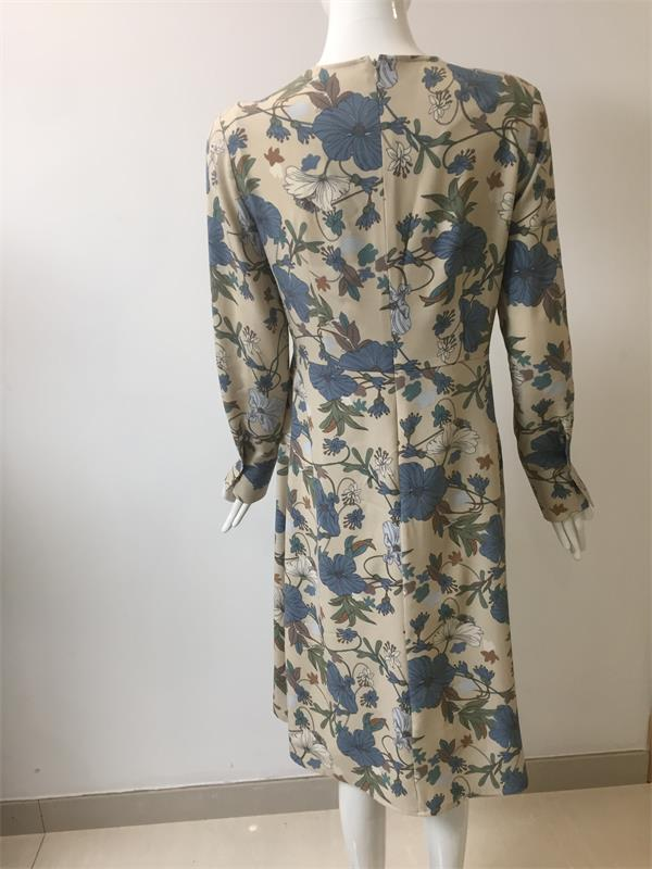 Printed Dress for Spring Autumn Wear