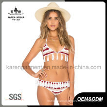 Frauen Quasten Striped Knit Swim Suit