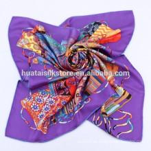 Nuevos productos calientes para 2014 100% seda musulmana bufanda cuadrada