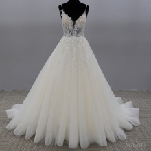 Bridal Gowns Sheer Jewel Neck Lace Appliqued Sequins Plus Size Robe De Mariee Custom wedding princess dress