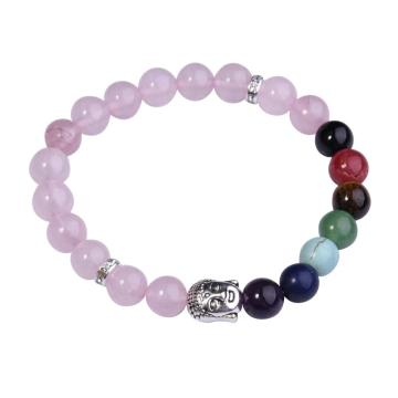 7 Chakra Gemstone Beads Buddhism & Buddha Alloy Blue Rose Quartz Bracelet