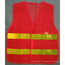 Gilet de sécurité en polyester avec bande réfléchissante élevée pour route