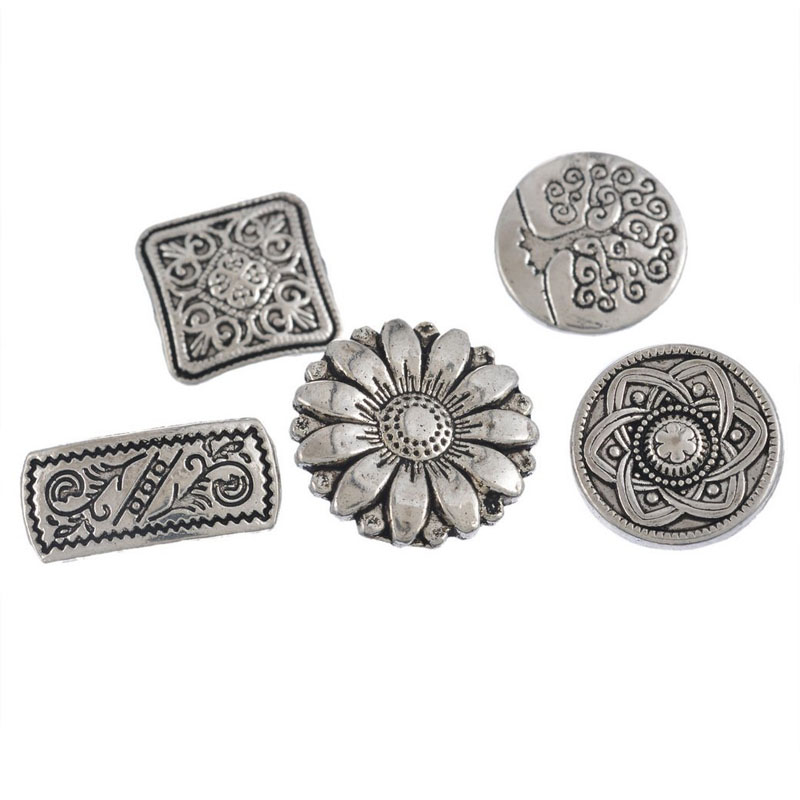Mixed Silver Flower Button