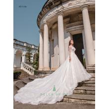 Reale Abbildungen der schönen Hochzeitskleider Chinesisches Entwerferhochzeitskleid langes Hülsenbrauthochzeitskleid für Philippinen