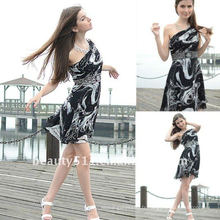 Astergarden photo réelle Une épaule Longueur au genou Printed Beading Night Dress AS128