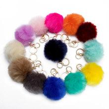 Hot Sale DIY Faux Rabbit Fur Pompom Ball for Hand Bag Keychain Accessory DIY 8CM Faux Rabbit Fur Pompom Ball