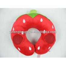 Almohada en forma de U almohada de fresa con caja de voz