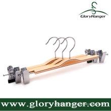 Cabide de calças de madeira compensada barato, calça de suspensão com dois clipes