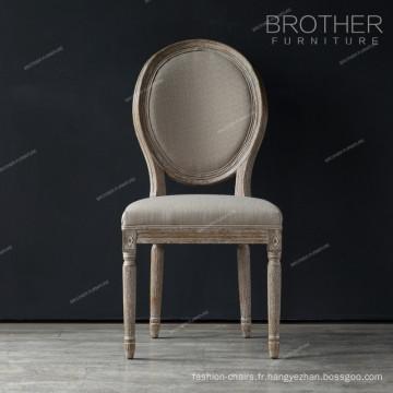 Mobilier de salle à manger de luxe rond en bois de chêne design chaise de salle à manger classique français