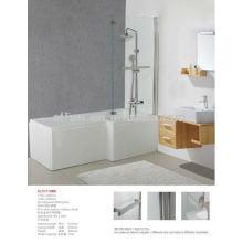 Chino caliente acrílico sólido superficie blanco baño L forma ducha baños