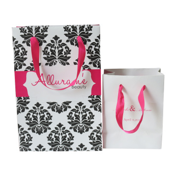 Fashionable Custom Design Ribbon Handle Paper Bag