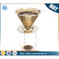 Revestimiento de oro Titanium Vierta sobre el cono Reutilizable Filtro de café de acero inoxidable para Chemex, Hario, Garrafas