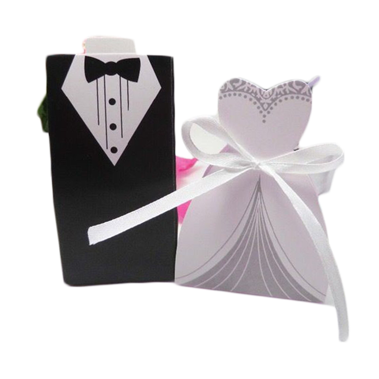 Wholesale Celebration Bride And Groom Wedding Favor Gift Small Paper Candy Packaging Box