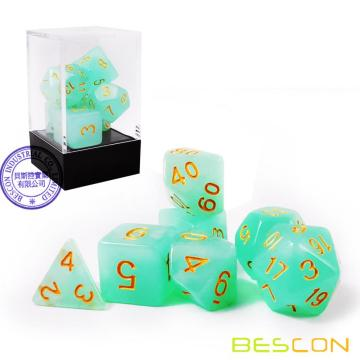 Bescon Moonstone Dice Set Jadeite, Bescon Polyhedral RPG Dice Set Moonstone Effect