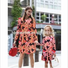 Doce rosa dos desenhos animados imprimir natal mãe filha roupas família olhar menina e mãe dress mãe e filha dress correspondência