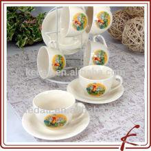 Набор для чайных сервизов из керамического кофе чашки и блюдца 6 комплектов с подставкой