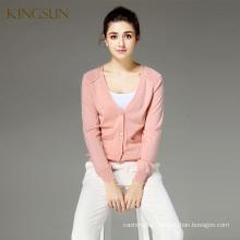 Women 100% Merino Wool V-neck Long Sleeve Knitted Cardigan Sweater