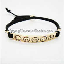 plated gold color alloy carved phiz symbol white leather bracelet