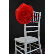 Boda organza silla cubierta silla flor
