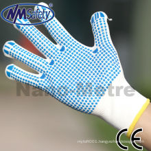 NMSAFETY poly cotton knitted gloves work gloves with PVC dot