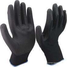 NMSAFETY 13 gauge black nylon liner coated black foam pvc on palm anti slip safety working gloves