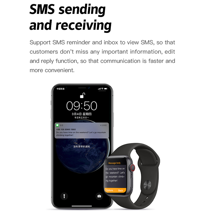 Smart watch with USB charger