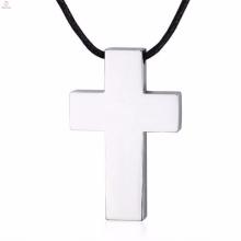 Collier en cuir pendentif croix occidentale simple design en argent pour homme