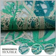 Tela bordada del cordón verde barato hecho a mano del poliéster al por mayor
