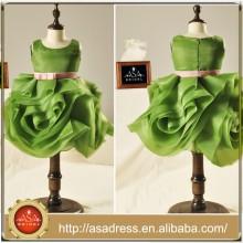 FL1006 Especial Emerad Verde Organza Ruffle falda vestido de niña de flores con Cinturón Belt Niños Vestidos de dama de honor