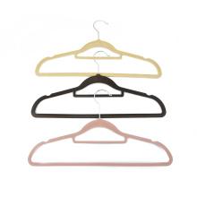 Wholesale space saving anti slip velvet flocked suit hanger for clothes