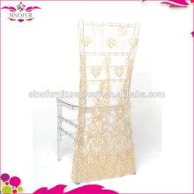 Couverture de chaise de mariage motif sequin pour fête