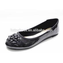 Patente PU couro preto mulheres sapatos com trim flats senhora casual sapato
