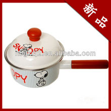 enamel cooking pot with wooden handle