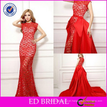 Sexy OEM Factory Lace Fabric Jewel Neck Mermaid Red Vestidos de noite com trem destacável