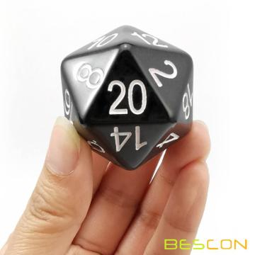 Bescon Jumbo D20 38MM, Big Size 20 Sides Dice Solid Black, Big 20 Faces Cube 1.5 inch