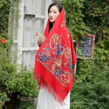 Элегантный мусульманский вышитый женский шерстяной шарф