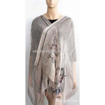 Bufanda de lino impreso con flecos