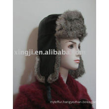 chinchilla rabbit fur natural grey color with cloth on the top russian fur hat