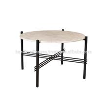 Cubierta de mármol redondo industrial y mesa de centro baja de metal