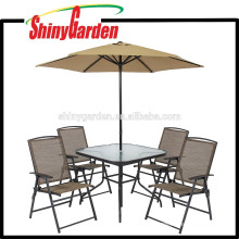 Outdoor Patio Furniture Dining Set 6 Pieces with Umbrella/Parasol , Glass Top Dining Table Set , Dining Table Set 4 Chairs
