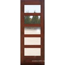 Mahogany 5 Glass Lites Composite Wood Door Design (S4-1008)