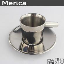 Copa de café de doble pared de acero inoxidable con placa